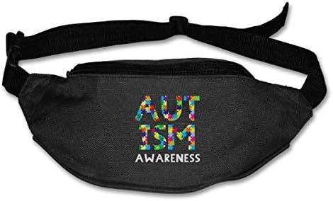 自閉症意識ユニセックスアウトドアファニーパックバッグベルトバッグスポーツウエストパック