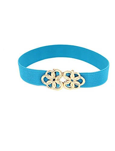 Metal Floral Interlock Buckle Stretch High Waist Belt Cyan for Ladies Woman