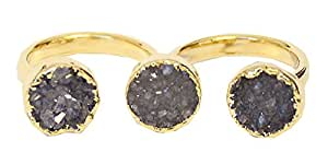 SONIA HOU Triple Ring, Two Finger Ring Featuring Druzy Gemstone Electroplated in 24K Gold, Blue Round