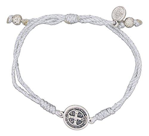 Mothers Prayer Bracelet - My Saint My Hero Serenity Blessing Bracelet, Adjustable (Silver Plated Medal on Silver)