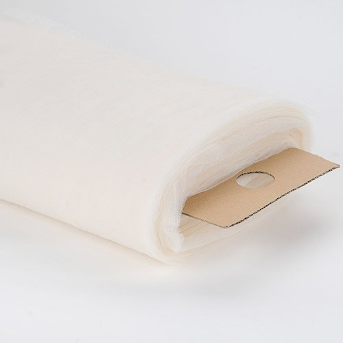 BBCrafts 108 Inch Premium Tulle Fabric Bolt - (W: 108 inch | L: 50 Yards) (Ivory)
