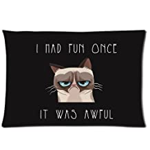 """Custom Funny Grumpy Cat Pillows Pillowcase Standard Size 20""""X26"""" One Side Design Pillow Case Cover"""
