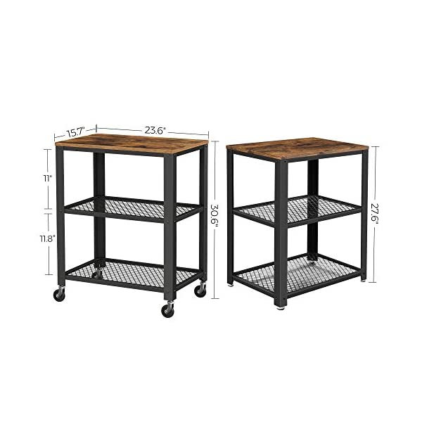 """VASAGLE 3-Tier Kitchen Serving Bar Cart on Wheels with Storage Industrial, 23.6"""", Rustic Brown"""