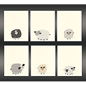 Baby Nursery Art Nursery Art Decor close-up portraits Set of Prints Baby sheep Lamb