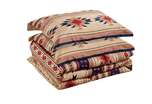 Chezmoi Collection 3-Piece Southwestern Geometric Tribal Multicolor Coffee Brown Navy Red Comforter Set, King Size