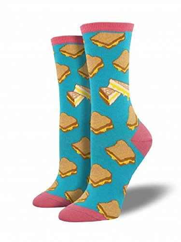 Grilled Cheese (Socksmith Womens' Novelty Crew Socks Grilled Cheese - 1 pair (Turquoise))