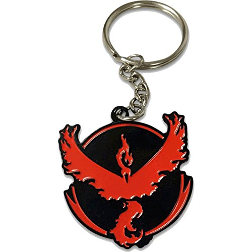 - Double Sided Pokemon GO Plus Team Valor Moltres Keychain PokemonGO by PokeSwag-Cool Team Gym Enamel Fill Emblem Keychain-Pokemon Games Fans & Collector