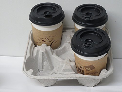 Molded Fiber 4 Cup Drink Carrier, Hold 8 to 32 Oz Cup 20/pack +5 clip on cup plastic (4 Cup Beverage Carrier)