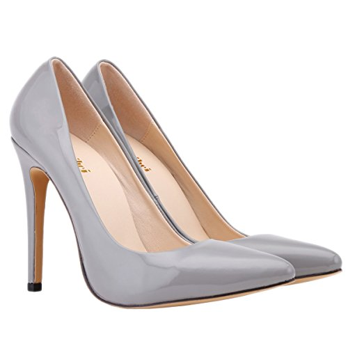 Women's Gray Style Zbeibei Pumps Neon PU Shoes Women Corset Heels Leather Work High Court Faux dZ06rTZRq
