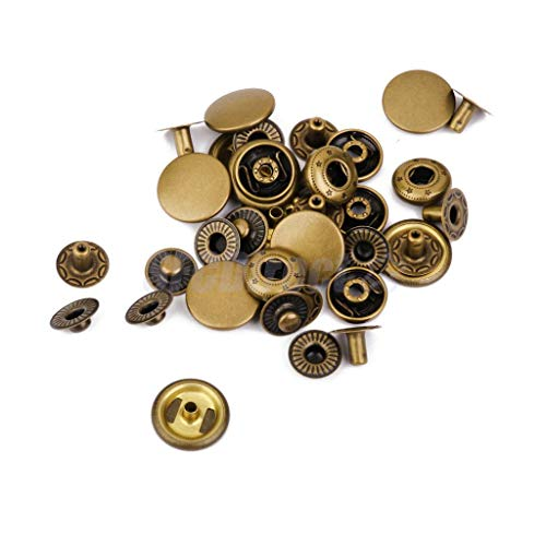 (Heavy Duty Metal Snap Fasteners Press Studs Buttons Sewing Leather Craft Clothes | Color - Bronze, 10 Sets)