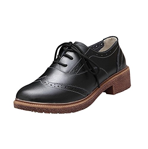 Fheaven Spring New British Style Shoes Retro Shoes With Thick With Oxford Shoes (US:8, black)