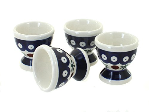 Blue Rose Polish Pottery Nature Egg Cup Set