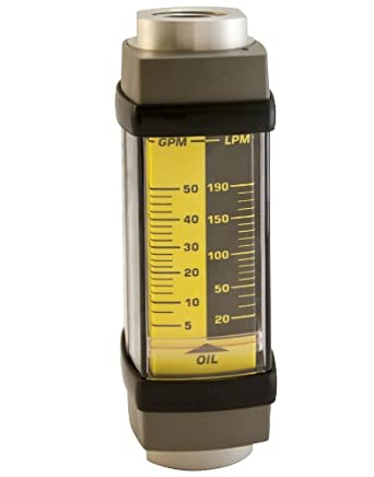 "Hedland H801A-100 Flowmeter, Aluminum, For Use With Oil and Petroleum Fluids, 10 - 100 gpm Flow Range, 1-1/4"" NPT Female"