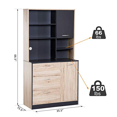 66.5''H Wall Mount Kitchen Silverware Utensils Kitchenware Dishware Storage Pantry Microwave Coffee Maker Food ProcessorStorage Cabinet Hutch Buffet Server 5 Storage Cubes 3 Pull Out Drawers 2 Cabinets by Almacén (Image #2)