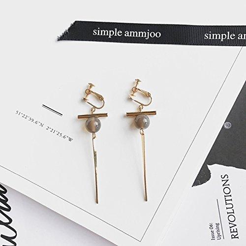 No Pierced Ear Clip Earrings Earring Dangler Eardrop Women Girls Students Creative Gift Retro Geometric Triangle Long Clip-on (Ear Clip Crossbar Sub Gray - Crossbar Chandelier