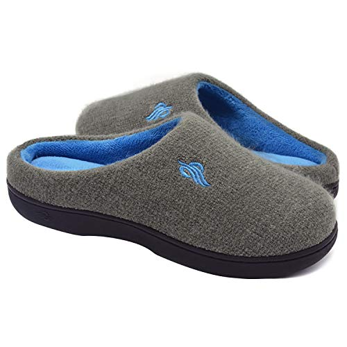 Wishcotton Women's Contrast Color Warm Cotton Slippers with Arch Support Winter Breathable Indoor/Outdoor House Shoes,Grey,7-8 M US