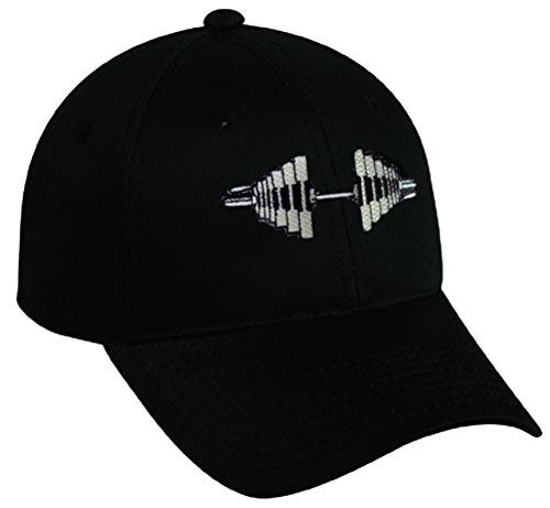 Embroidered Barbell Baseball Cap - Black (Black) ()