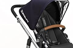 The UPPAbaby Leather Bumper Bar Cover provides a fresh new look to your stroller. Its constructed of full-grain leather with perf details for a touch of luxury and long-lasting wear. Easily attaches over your existing bumper bar.