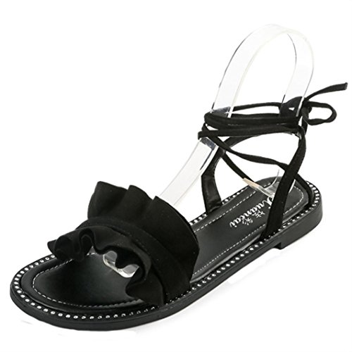 Transer® Damen Flach Kreuzgürtel Ankle-strap Sandalen Schwarz Weiß PU-Leder+ Gummi f9a97e7c48