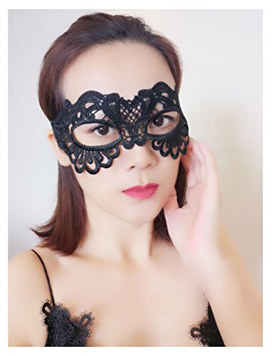 [Lace Eye Mask Masquerade Costume - Sexy Party Prom Ball Halloween Black Womens Girls Soft & Changable Shape] (Zorro Female Costumes)