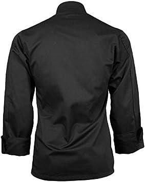 ChefsCloset Lightweight Poplin Unisex Long Sleeve Button Black Chef Jacket Small Chef Coat