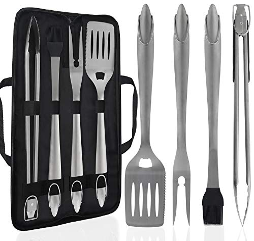 POLIGO 5PCS BBQ Grill Tools Set with Carrying Case for Camping - Premium Extra Thick Stainless Steel Barbecue Grilling Accessories Set - Ideal BBQ Utensil Gifts Set on Birthday for Dad Men Women