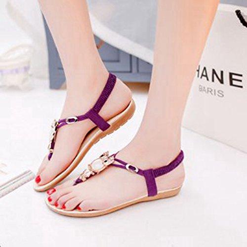 de String Plates Sandales étincelante Noble Confort Bohémiens élastique Beach Mignonnes Tongs Femmes Mode la Summer Purple xTUOfYqnfw