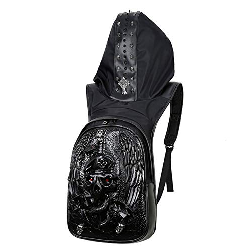 DEYSSNE Personality Large Capacity 3D Vintage Gothic Embossing Leather Backpack Rock Punk Rivets Skull Backpacks with Hat Halloween Costume Bag by DEYSSNE