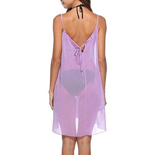 PAOLIAN Frauen Badeanzug Sommerkleid Chiffon Strandkleid Vertuschen Bikini Badeanzug Minikleid Bademode Kleider Lila f1j4Qu0Nyf