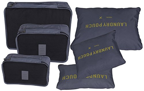 Clothes Storage Travel Luggage Organizer Pouch (Grey) Set of 6 - 6