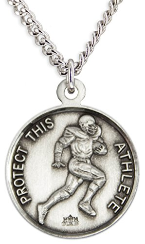 Saint Medal Pendant Sebastian (Men's Sterling Silver Round Saint Sebastian Football Medal + 24 Inch Endless Rhodium Plated Chain)