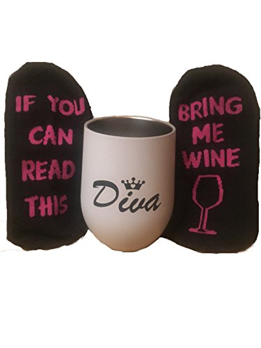 Diva gift Ideas for women Divas stainless steel wine Glass Tumbler with Bring Me Some Wine Socks With - Glass Wine Diva