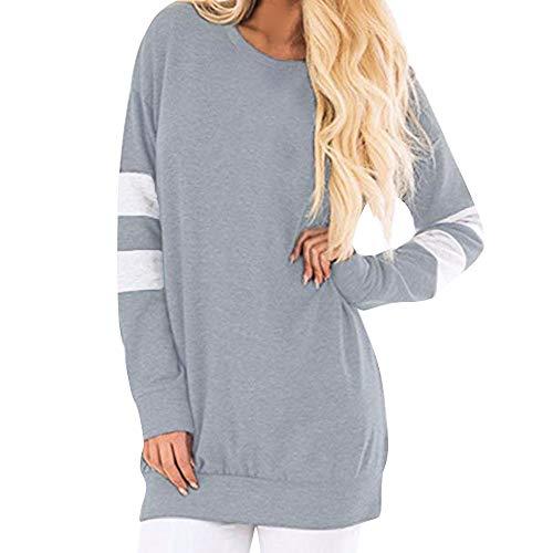 iHPH7 Women Casual Long Sleeve Sweatshirt Pullover Long Shirt Tunic Tops Blouse Grey