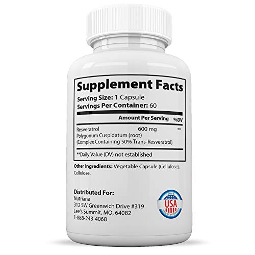 4138kMb4PqL - Best Resveratrol Antioxidant Supplement - Resveratrol Capsules - Anti Aging Supplements for Cardiovascular Support and Healthy Aging - 60 Reservatrol Over 500 mg Supplement Capsules