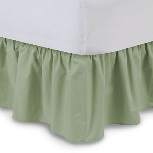 Ruffled Bedskirt (Queen, Sage) 18 Inch Bed Skirt with Platform, Wrinkle and Fade Resistant - by Harmony Lane (Available in all bed sizes and 16 colors)