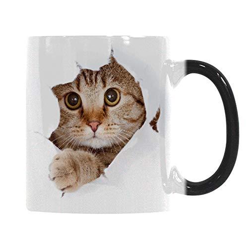 Heat Changing Mug, Caliamary Funny Cat Heat Changing Ceramic Coffee Mug, 11 oz Heat Sensitive Color Changing Coffee Mug Cup, Cute Xmas Gift Mug for Women Men Kids (Cat) (Coffee Mug Color Changing)