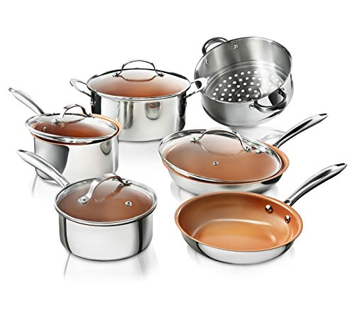 Gotham Steel Stainless Steel 10 Piece Pro Chef Cookware Set, Premium Copper Nonstick Pots and Pans - Tri-Ply Bonded, Coated with Titanium and Ceramic Surface for the Ultimate Release - Dishwasher Safe