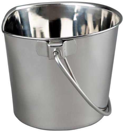 Advance Pet Products Heavy Stainless Steel Flat Side Bucket, 4-Quart