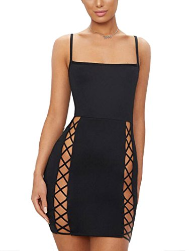 TANICY Women's Sexy Spaghetti Strap Hollow Out Lace up Bandage Bodycon Mini...