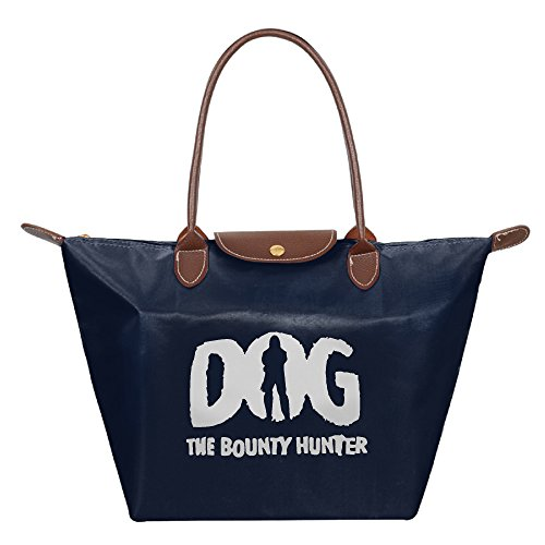 Dog The Bounty Hunter Waterproof Foldable Tote Bags Shopping Beach Shoulder Handbags Purse Tote Shoulder Bag Navy