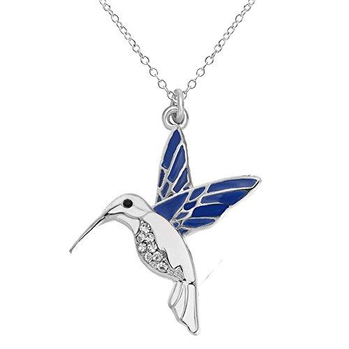 SENFAI Trochilus Crystal Charm Blue Hummingbird Pendant Necklace Length 18