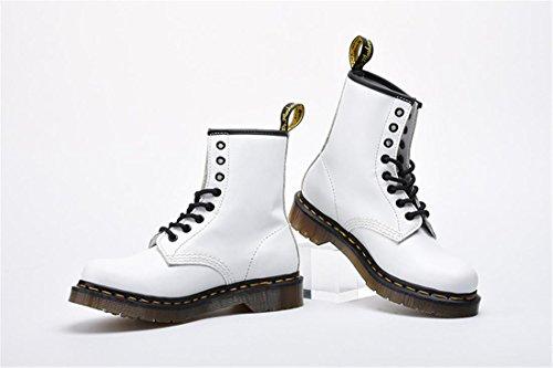 antidérapant Cuir Lace Antidérapage New Automne WHITE Véritable NVXIE Spring Chaussures Boots Fashion Martin EUR41UK758 Up Hiver Locomotive Courtes de Hommes Femmes Couple White Flat Bottes xOwqZUT