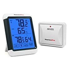 ThermoPro TP-65 Digital Hygrometer Indoor Outdoor Thermometer Wireless Temperature and Humidity Monitor with Jumbo Touchscreen and Backlight Humidity Gauge, 200ft/60m Range