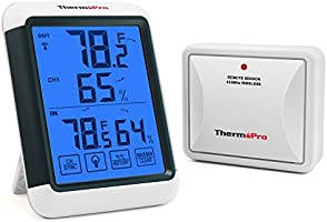 ThermoPro TP-65 Digital Hygrometer Indoor Outdoor Thermometer Wireless Temperature and Humidity Monitor with Jumbo...