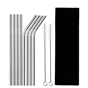 """Set of 8 Reusable Drinking Straw 8.5"""" (6mm x 215mm) 316 Stainless Steel FDA-Approved Drinking Metal Straws (4 Straight + 4 Bent + 2 Brushes) with Storage Bag"""