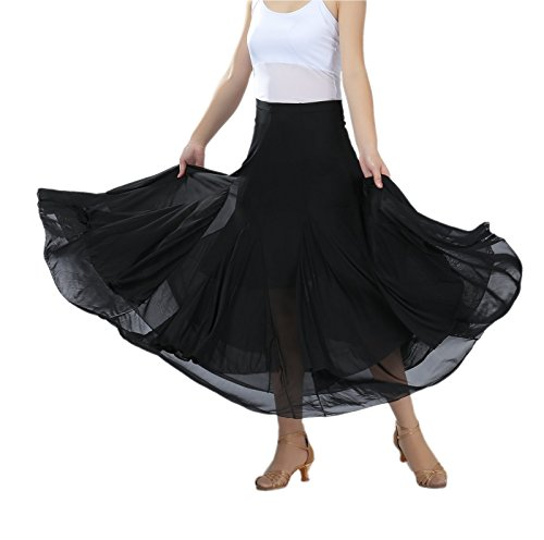 CISMARK Elegant Mesh Long Swing Ballroom waltz Dance Skirt For Women ,Black,One Size