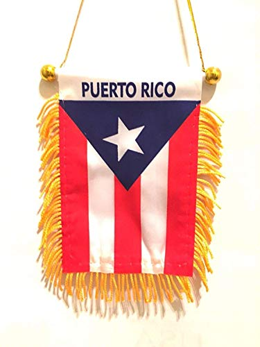 BUNFIREs Puerto Rico Small 4 X 6 Inch Mini Flag Banner Rearview Mirror Boricua Puerto Rican flag Fringed Window Hanging
