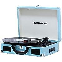 MUSITREND Tocadiscos 33/45/78 RPM, Maleta Portátil con 2 Altavoces Integrados, con RCA, Auriculares y Line in Montado, Azul
