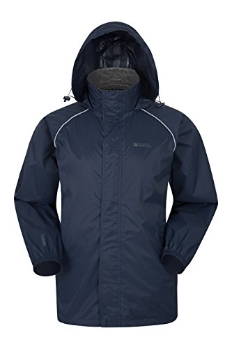 Mountain Warehouse Pakka Mens Packable Jacket -Waterproof Summer Coat Navy Large