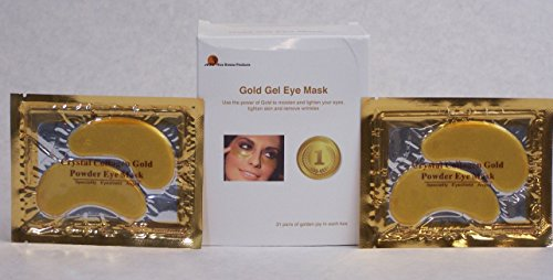 Gold Gel Eye Mask Pads - Collagen, Hyaluronic Acid, Vitamin C Formula to Hydrate Skin and Reduce Wrinkles, Puffiness, Dark Spots - Oxygenating Anti-Aging Under Eye Patches - Toning, Smoothing (Nice Face)